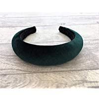 Beautiful Dark Bottle Green flock velvet plush padded headband matador style domed shape 4 cms wide