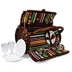 Cantley Deluxe 4 Person Wicker Picnic Hamper Basket Colourful Striped Lining with Cream Chiller Bag & Accessories - Gift ideas for Christmas, Valentines, Mothers Day, Birthday, Wedding, Anniversary, Business and Corporate
