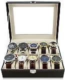 VENKON-Caja-para-10-Relojes-de-Pulsera-Vitrina-Joyera-Almacenamiento-y-Presentacin-de-Reloj-Organizador-Cuero-Sinttico-Negro