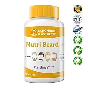 Nutri Beard+ Bartwuchs & Bartpflege für vollen Bart -Bartwachstum anregen & beschleunigen – Verstärkt Haarwuchs & pflegt Bart – Multivitamin – 100% Natürlich+Vegane Kapseln