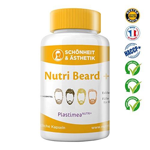 Nutri Beard+ Bartwuchs & Bartpflege – DIE NR. 1 AUS FRANKREICH – Bartwachstum anregen & beschleunigen – Verstärkt den Haarwuchs & pflegt den Bart – Multivitamin – 100% natürlich+vegan