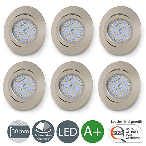 B.K. Licht lot de 6 spots LED encastrables ultra-plats, orientables, plafonnier design, éclairage encastré LED intérieur, blanc chaud, 230V, IP23, 6x5W