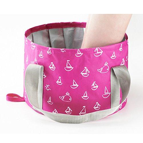 vaschette pieghevoli portatili travel Footbag Washtub Panno in poliestere Tourist foot tub Massaggi e relax (Color : Rose, Size : 11 * 7 inches)
