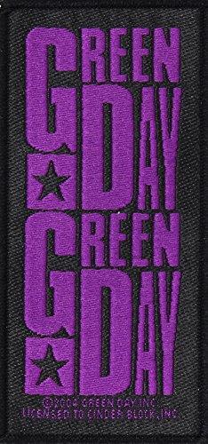 GREEN DAY Aufnäher PURPLE LOGO Patch gewebt 5 x 10 cm Green Day-logo-beanie