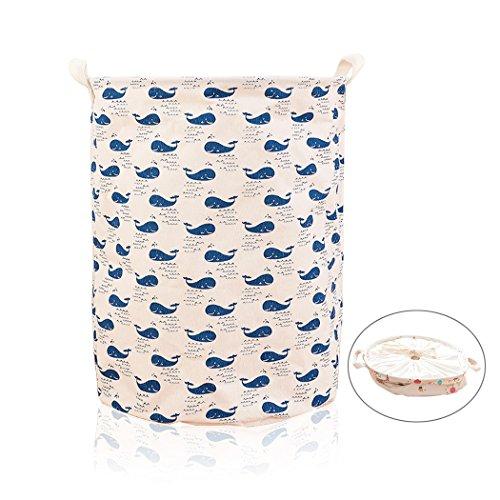 ALLTOP premium cartoon foldable cotton line Wäschekorb Klapp Kinder Spielzeug organizer Spielzeug aufbewahrung Spielzeug Warenkorb Kleidung Halter wäschebox mit Deckel gepunktet, Wal-Muster