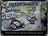 ISLE OF MAN TT THE WORLD'S MOST FAMOUS RACE Metal Enamel Advertising Sign (SMALL 200mm X 150mm) by Original Metal Sign Co