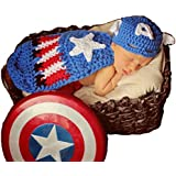 Hrph Niño recién nacido apoyos de la fotografía del traje de ganchillo hecho a mano Gorros