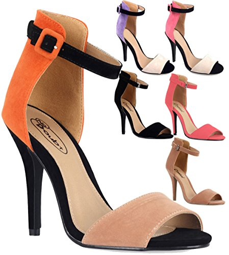 Ladies High Stiletto Heel Open Toe Back Ankle Strap Faux Suede Sandals Shoes 3-8 Corail