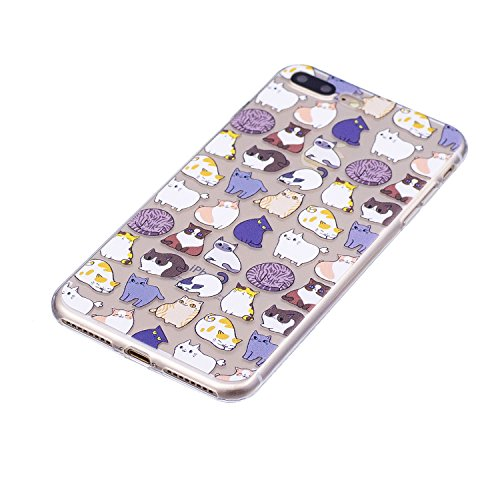 Custodia iphone 7/8 Plus, Cover iphone 7/8 Plus, Cozy Hut [Clear Ultra Sottile Silicone Gel] Liquid Crystal **Estremamente Sottile & Puro Trasparente** Premium TPU silicone case Custodia Cover iphone  Mini gatto