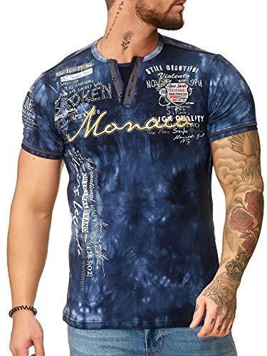 """OneRedox Herren T Shirt Hoodie Longsleeve Kurzarm Shirt Sweatshirt """"Monaco"""" 3396 Navy XXL"""