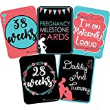 Galaxy Comfort Set Of 27 Pregnancy Milestone Cards - Pregnancy Reveal - Pregnancy Cards - Pregnancy Gift - Pregnancy Journal - New Mom Gift - Newborn Photo Props Greeting Card (Multicolor, Pack Of 27)