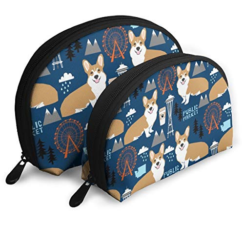 Corgi In Seattle Space Needle Coffee Washington State Design Navy 2pcs/pack Toiletry bag Travel Carry On Airport Travel Shell Makeup Storage Bag Toiletry Organizer For Women