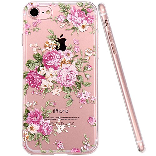 iPhone 7 Hülle, JIAXIUFEN TPU Silikon Schutz Handy Hülle Handytasche HandyHülle Etui Schale Schutzhülle Case Cover Tasche Etui für Apple iPhone 7 - Red Peony Pink Peony