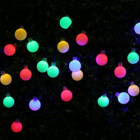 BOHMAIN Fiesta de Jardín Luces de Navidad Exterior Lampara Solar la Pared Exterior- Linterna 30 LED Serie 4,5 Metros de Largo Luces de cadena, Decoración de Navidad,Plantas,Balcón -Multi-Colores