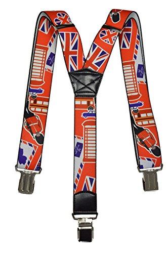 Bretelles entierement reglable pour tous les ages, Londres Modeles Symboles de Londres (Rouge)
