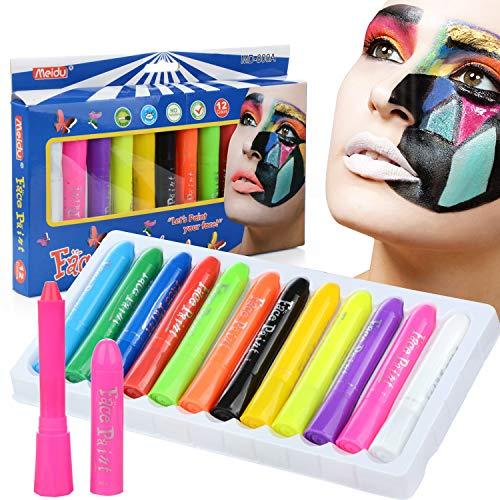 Ciojio Gesicht Farbe Kit 12 Farben Waschbar Nicht Giftig Körperbemalung Set Kinder Erwachsene Bilden Gemälde Buntstift Zum Halloween Kostüme Weihnachten Party