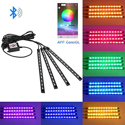 ONEVER 4pcs Bluetooth Auto-Innen USB RGB LED Streifen-Licht Telefon APP Steuerung Flexible Atmosph?ren-Lampe Kit Fu?lampe Dekorative Voice/Music Control-Timing f¨¹r Android iOS