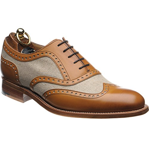 Aringa Henley II brogue bicolore in marrone e tela, multicolore (Tan and Canvas), 44 EU