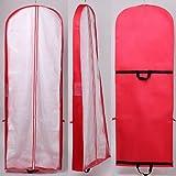 immagine prodotto HIMRY® [5 pezzi] Sacca porta abiti traspirante, per vestiti da sposa / vestiti da sera / vestiti / giacche / cappotti , circa180 cm, cerniera - Due tasche per gli accessori - Due manici intrecciati per un maggiore comfort - Rosso, KXB101 Red-5x