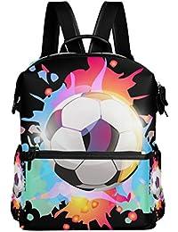 FANTAZIO Mochilas Coloridas Fútbol Mochila Escolar Poliéster Daypack con Cremallera para Niñas/Mujeres/Mujeres