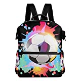 FANTAZIO Rucksäcke Colorful Football Schule Bag Polyester Tagesrucksack mit Reißverschluss für Mädchen/Lady/Frauen