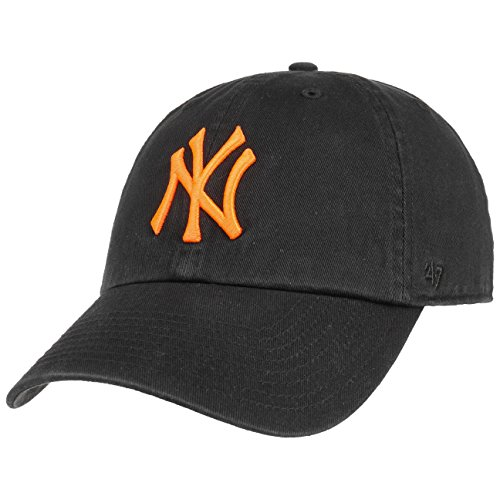 47 Brand Clean Up Yankees Neon Cap Baseballcap Basecap Strapback MLB NY New York (One Size - schwarz-orange)