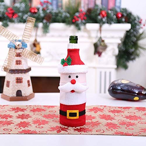 (SPFAZJ Weihnachten Tischdekoration Weihnachten Wein Flasche Legen Sie heiße Puppe alte Mann Schneemann Elch Wein Set Weihnachten Wein Flasche Tasche O Rnament)