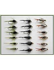 18goldhead Nymphe mouches–Prince, olives, noir et argent