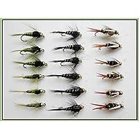 18GOLDHEAD moscas en forma de ninfa–Prince, aceitunas, color negro y plateado