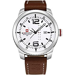 NAVIFORCE 4080 Multifunctional 3 ATM Waterproof Sport Uhr Quarz Unisex Wrist Uhr mit PU Band and Week & Calendar Display FUNCTIONS (Coffee Band + White Window)