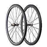 ICAN 700C Carbone 40mm Vélo de route Roues Clincher Tubeless Prêt 20/24 Trous