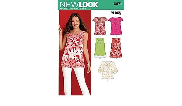 New Look Nähmuster 6871, Top / Tunika, für Gr.: 38-50: Amazon.de ...