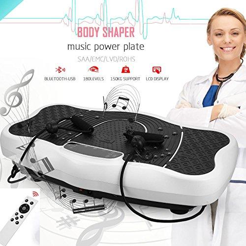 ULTREY Fitness Vibrationsplatt mit USB-Lautsprecher Profi Ganzkörper Trainingsgerät, mit Trainingsbänder und Fernbedienung