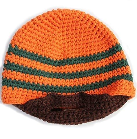 Honeysuck faite à la main Bonnet d'hiver en plein air visage Warmer Chapeau (Orange)