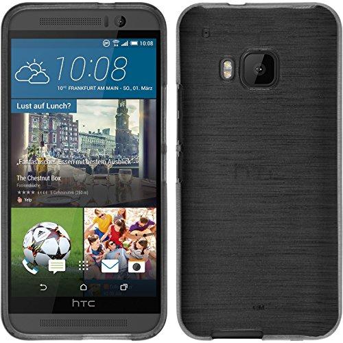 PhoneNatic Silikon brushed Tasche mit Schutzfolien für HTC One M9 silber