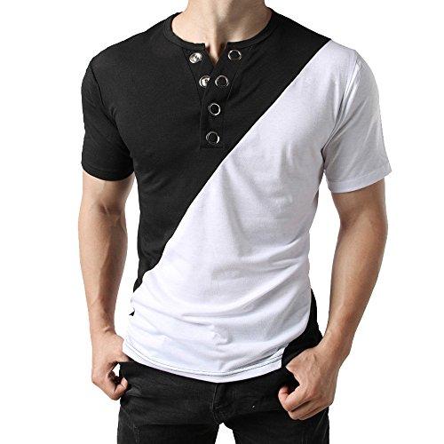 Herren T-Shirt, Marlene Männer Mode T-Shirt Button Bluse Kurzarm Fit  Pullover Shirt Patchwork Top 455cf70ced