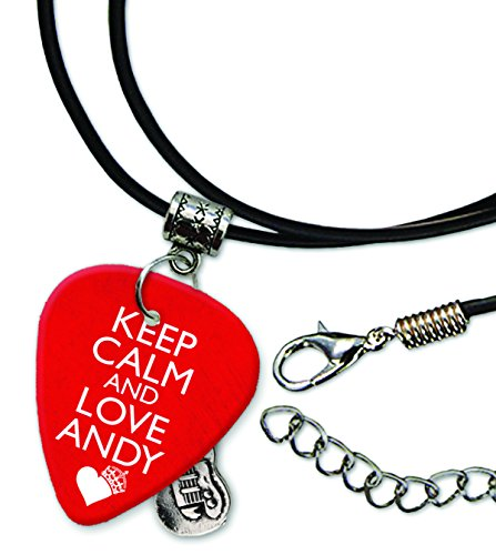 Keep Calm And Love Andy Biersack Black Veil Brides Plettro per chitarra collana in corda in pelle (GD)