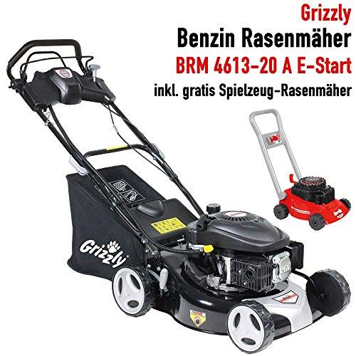 Grizzly Benzin Rasenmäher BRM 4613-20 A, Elektrostart auf Knopfdruck, 4-Takt OHV Motor 135 cc, Selbstantrieb, 46 cm Schnittbreite, Stahlgehäuse - inkl. Kinder Rasenmäher