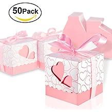 Foonii 50pcs Bomboniere Candy scatole scatole regalo con nastri rose, ideale per confetti, caramelle, cioccolatini, (Scatole Candy Personalizzati)