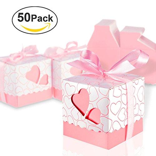 Foonii 50pcs bomboniere candy scatole scatole regalo con nastri rose, ideale per confetti, caramelle, cioccolatini, gioielli e regali piccoli, ecc