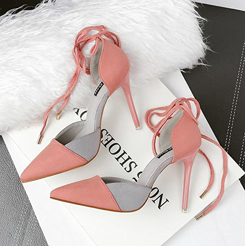 Lgk & Fa Écrit Chaussures À Talons Hauts Dentelle Sandales Papillon Noeuds Sandales Et Sandales 36 Bleu 36 Rose