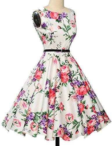 50er jahre kleid abschlussballkleid baumwolle faltenrock sommerkleid petticoat kleid Größe L CL6086-21 - 4