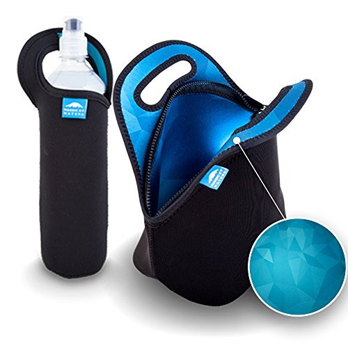 blue-nordic-by-nature-bundle-of-insulated-black-neoprene-lunch-bag-tote-and-water-bottle-sleeve-blue