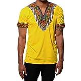 Moonuy,Männer Slim T-Shirt, Junge Kurzarm Pullover Sommermode Fit V-Ausschnitt gedruckt Muskel T-Shirt Casual Tops gedruckt Bluse Freizeit Charme Sweatshirt (EU 40 / Asien XL, Gelb)