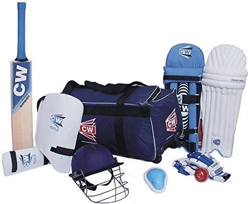 CW Sport acemedy Team Cricket Kit Blau mit Cricket Bat {Große Kit Bag + Cricket Bat + Cricket-Helm + Bauch + Leder Ball + Batting Handschuhe + Leg Guard + Arm & Oberschenkel Guard}, blau, Size -6 Ideal For 11-12 year Child