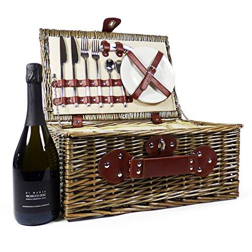 Cesta de picnic de mimbre con vino espumoso Di Maria y bolsa con refrigerador integrado - La idea de regalo para bodas, aniversario, aniversario, compromiso