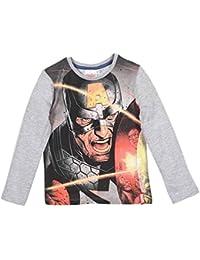T-shirt manches longues enfant Avengers Captain America Gris de 4 à 10 ans