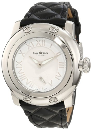 Glam Rock Women's Palm Beach 40mm Black Leather Band Steel Case Swiss Quartz White Dial Watch GR40027