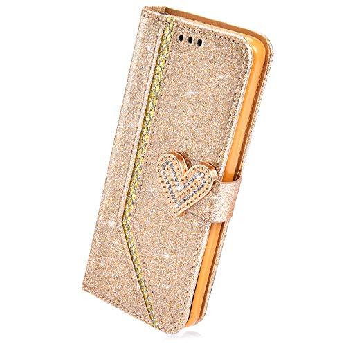 Herbests Kompatibel mit Samsung Galaxy A8 Plus 2018 Hülle Leder Handyhülle Glitzer Bling Sparkle Mädchen Brieftasche Hülle Flip Case Tasche Strass Diamant Wallet Handytasche Schutzhülle,Gold