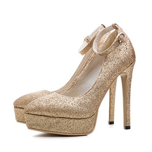 Sommer Frauen Single Schuhe Nachtclub sexy fein mit Bankett High Heels (Farbe : Gold, größe : 39-Shoes long245mm)